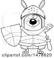 Clipart Of A Chubby Outline Rabbit Knight Waving Royalty Free Vector Illustration