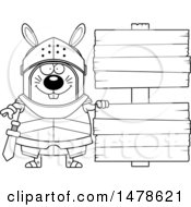 Clipart Of A Chubby Outline Rabbit Knight By Wood Signs Royalty Free Vector Illustration