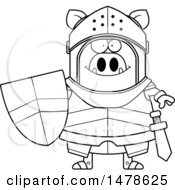 Clipart Of A Chubby Lineart Boar Knight Royalty Free Vector Illustration