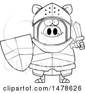 Chubby Outline Boar Knight Holding A Shield And Sword