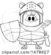 Chubby Outline Boar Knight Waving