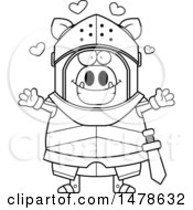 Chubby Outline Boar Knight With Love Hearts And Open Arms