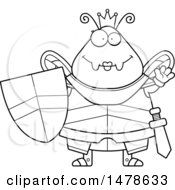 Chubby Outline Queen Bee In Armor Waving