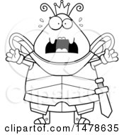 Poster, Art Print Of Chubby Outline Scared Queen Bee In Armor