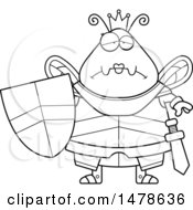 Chubby Outline Sad Queen Bee In Armor