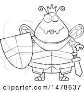 Poster, Art Print Of Chubby Outline Queen Bee In Armor