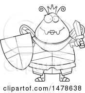 Chubby Outline Queen Bee In Armor Holding A Sword And Shield