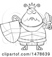 Chubby Outline Mad Queen Bee In Armor
