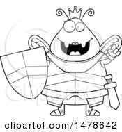 Poster, Art Print Of Chubby Outline Queen Bee In Armor With An Idea