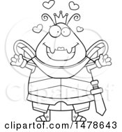 Chubby Outline Queen Bee In Armor With Love Hearts And Open Arms