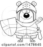 Chubby Lineart Bear Knight Waving
