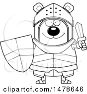 Chubby Lineart Bear Knight Holding A Shield And Sword