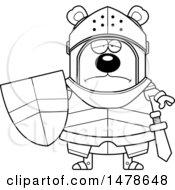 Chubby Lineart Sad Bear Knight