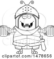 Chubby Outline Ant Knight Holding Beers