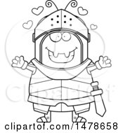 Chubby Outline Ant Knight With Love Hearts And Open Arms