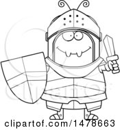 Chubby Outline Ant Knight Holding A Sword