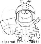 Poster, Art Print Of Chubby Outline Ant Knight Waving