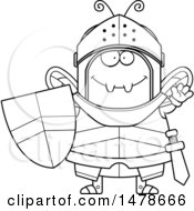 Chubby Outline Bee Knight Waving