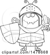 Chubby Outline Bee Knight Holding A Sword And Shield