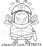 Chubby Outline Bee Knight With Love Hearts And Open Arms