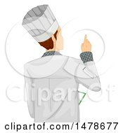 Male Chef Pointing Rear View