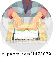 Clipart Of A Pair Of Hands Rolling Sushi Royalty Free Vector Illustration by BNP Design Studio
