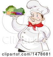 Clipart Of A Chubby Male Chef Holding A Platter Of Vegetables Royalty Free Vector Illustration