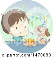 Clipart Of A Sketched Boy Celebrating A Birthday With His Dog Royalty Free Vector Illustration