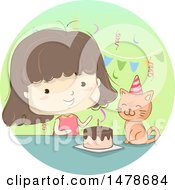 Clipart Of A Sketched Girl Celebrating Her Cats Birthday Royalty Free Vector Illustration