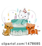 Clipart Of A Birthday Cake With Cats Royalty Free Vector Illustration