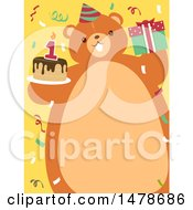 Chubby Bear With A Belly Frame Holding A Birthday Cake And Gift