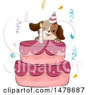 Happy Dog Climbing A Birthday Cake