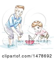 Clipart Of A Sketched Dad And Son Playing With A Boat Royalty Free Vector Illustration