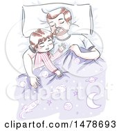 Clipart Of A Sketched Dad And Son Sleeping Royalty Free Vector Illustration