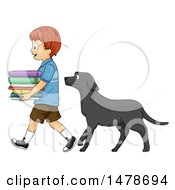 Dog Following A Boy Who Is Carrying A Stack Of Books