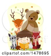 Clipart Of A Boy Reading A Book Surrounded By Woodland Animals Royalty Free Vector Illustration
