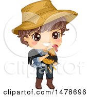 Clipart Of A Farmer Boy Holding A Rooster Royalty Free Vector Illustration by BNP Design Studio