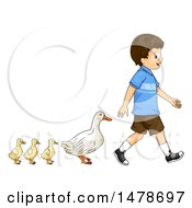 Clipart Of A Group Of Ducks Following A Boy Royalty Free Vector Illustration by BNP Design Studio