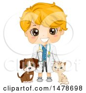 Poster, Art Print Of Blond Veterinarian Boy With A Cat And Dog