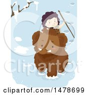 Clipart Of A Boy Riding A Woolly Mammoth Royalty Free Vector Illustration