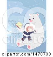 Clipart Of A Boy Cuddling With A Polar Bear That Is Reading A Story Royalty Free Vector Illustration