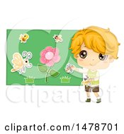 Clipart Of A Boy Using A Flannel Board To Tell A Story About Insects And Flowers Royalty Free Vector Illustration