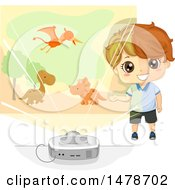 Clipart Of A Boy Using A Projector To Tell A Story About Dinosaurs Royalty Free Vector Illustration