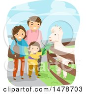 Clipart Of A Boy And Parents Feeding An Alpaca Royalty Free Vector Illustration by BNP Design Studio