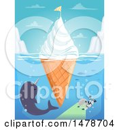 Clipart Of A Floating Ice Cream Cone Iceburg With A Narwhal And Diver Royalty Free Vector Illustration