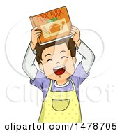 Boy Wearing An Apron And Holding Up A Cook Book