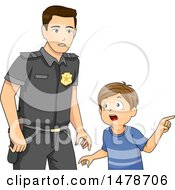 Clipart Of A Boy Telling A Police Officer About A Problem Royalty Free Vector Illustration by BNP Design Studio