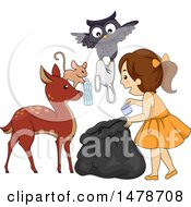 Clipart Of A Group Of Forest Animals Helping A Girl Pick Up Garbage Royalty Free Vector Illustration