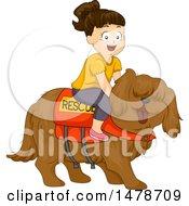 Girl Riding A Rescue Dog