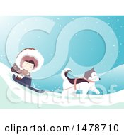 Clipart Of A Girl Eskimo And Husky Dog Sledding Royalty Free Vector Illustration